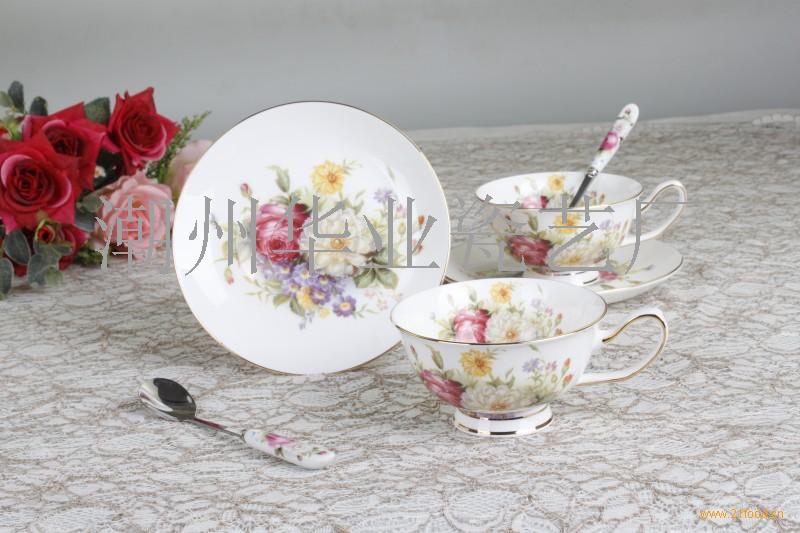 欧式骨瓷咖啡杯碟 二杯二碟礼盒装